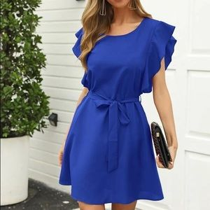 Shein royal blue ruffle dress size medium